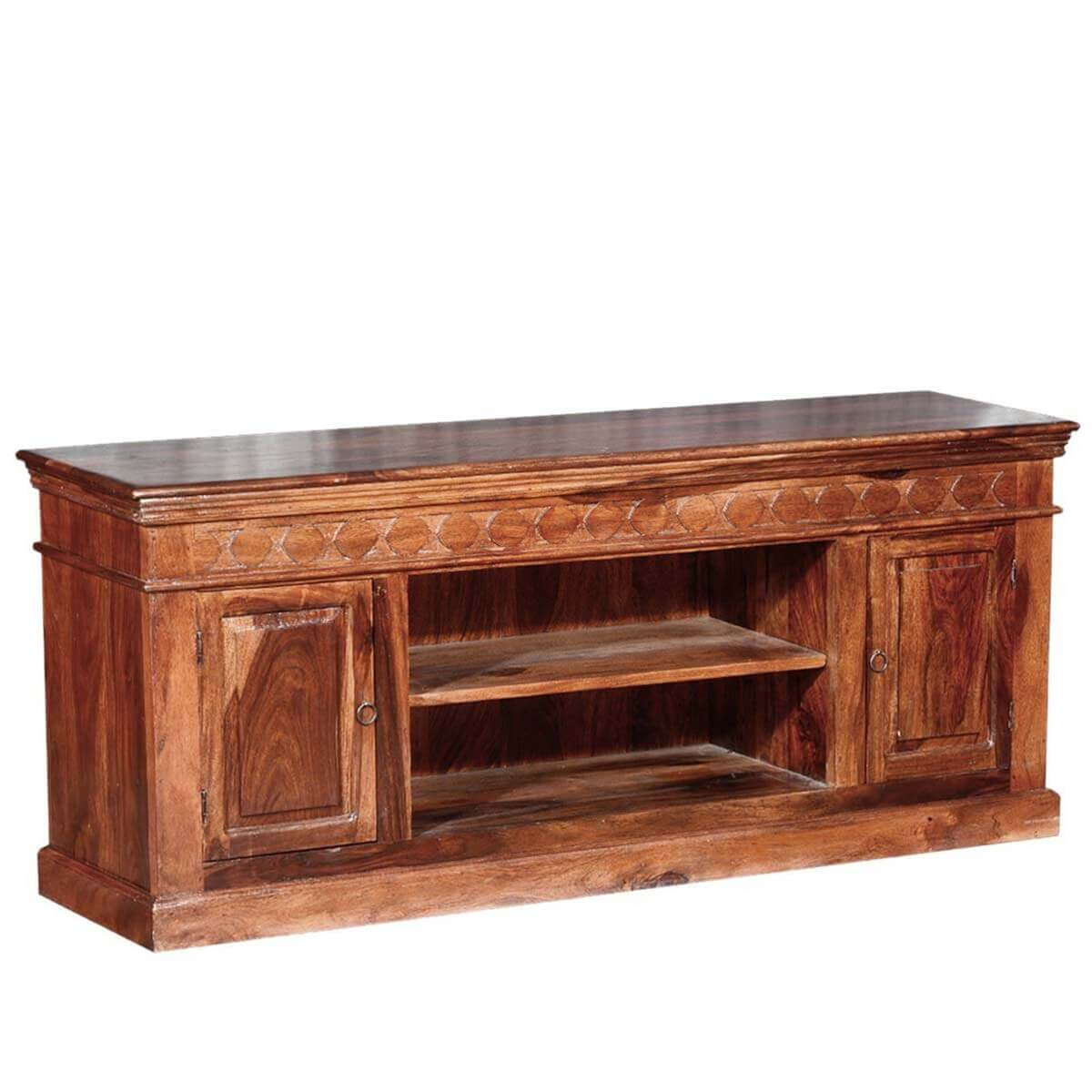 Rustic solid wood 2 doors hand carved tv console Rustic tv stands