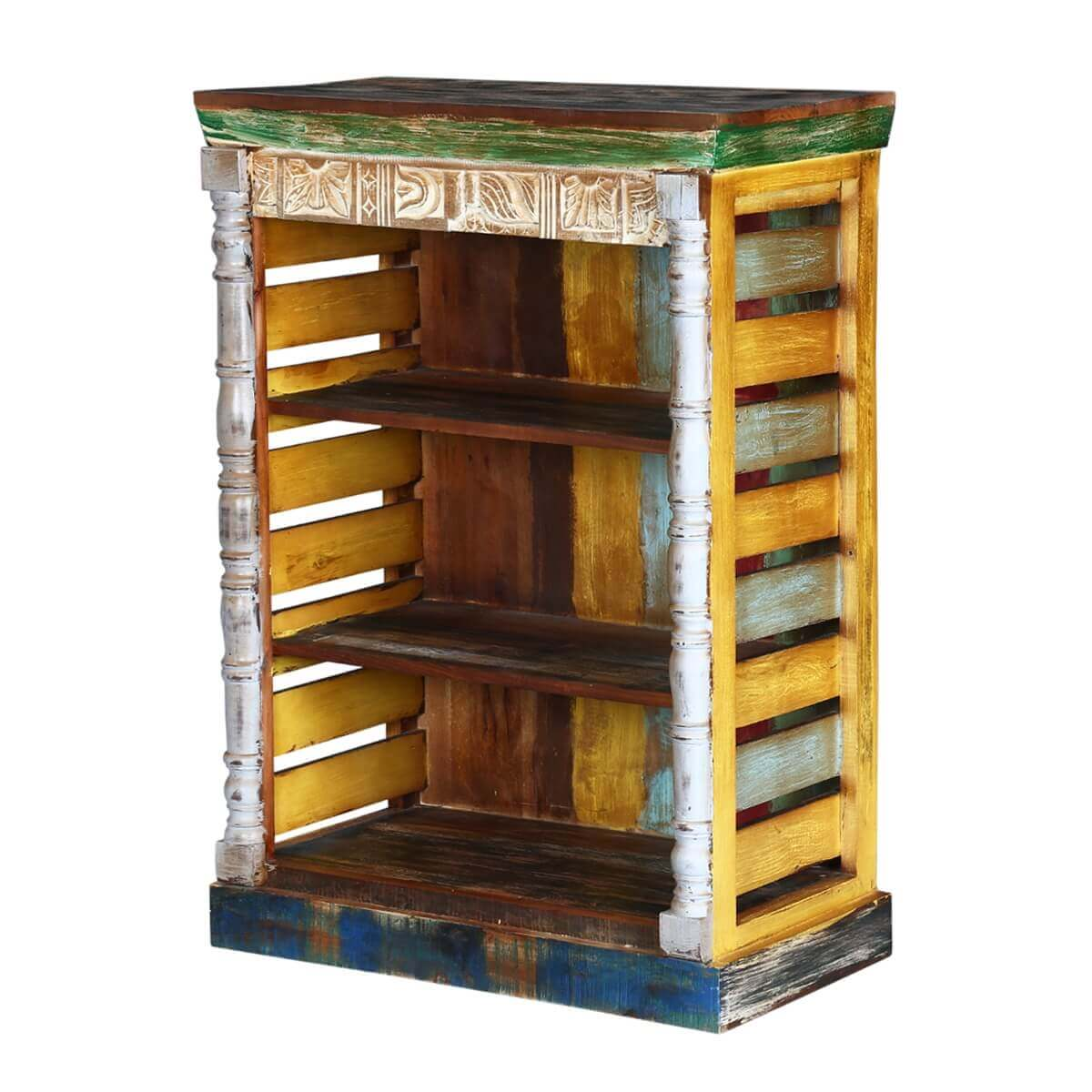 Rustic art multi color reclaimed wood book shelf for Barnwood shelves for sale