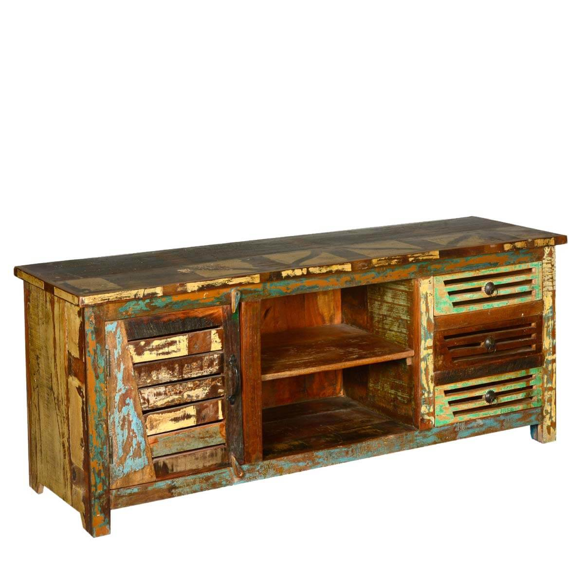 reclaimed wood 3 drawers tv stand media console. Black Bedroom Furniture Sets. Home Design Ideas