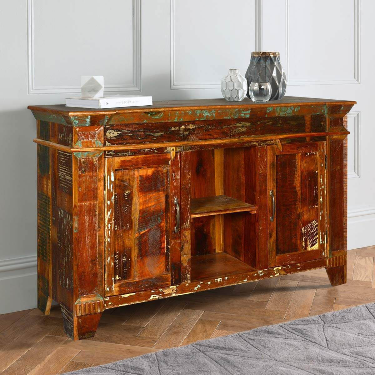 60 Rustic Reclaimed Wood Distressed Cupboard Sideboard