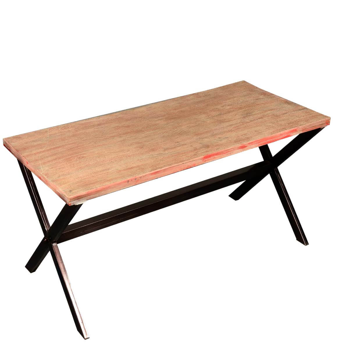 Picnic Style Reclaimed Wood Iron Trestle Coffee Table