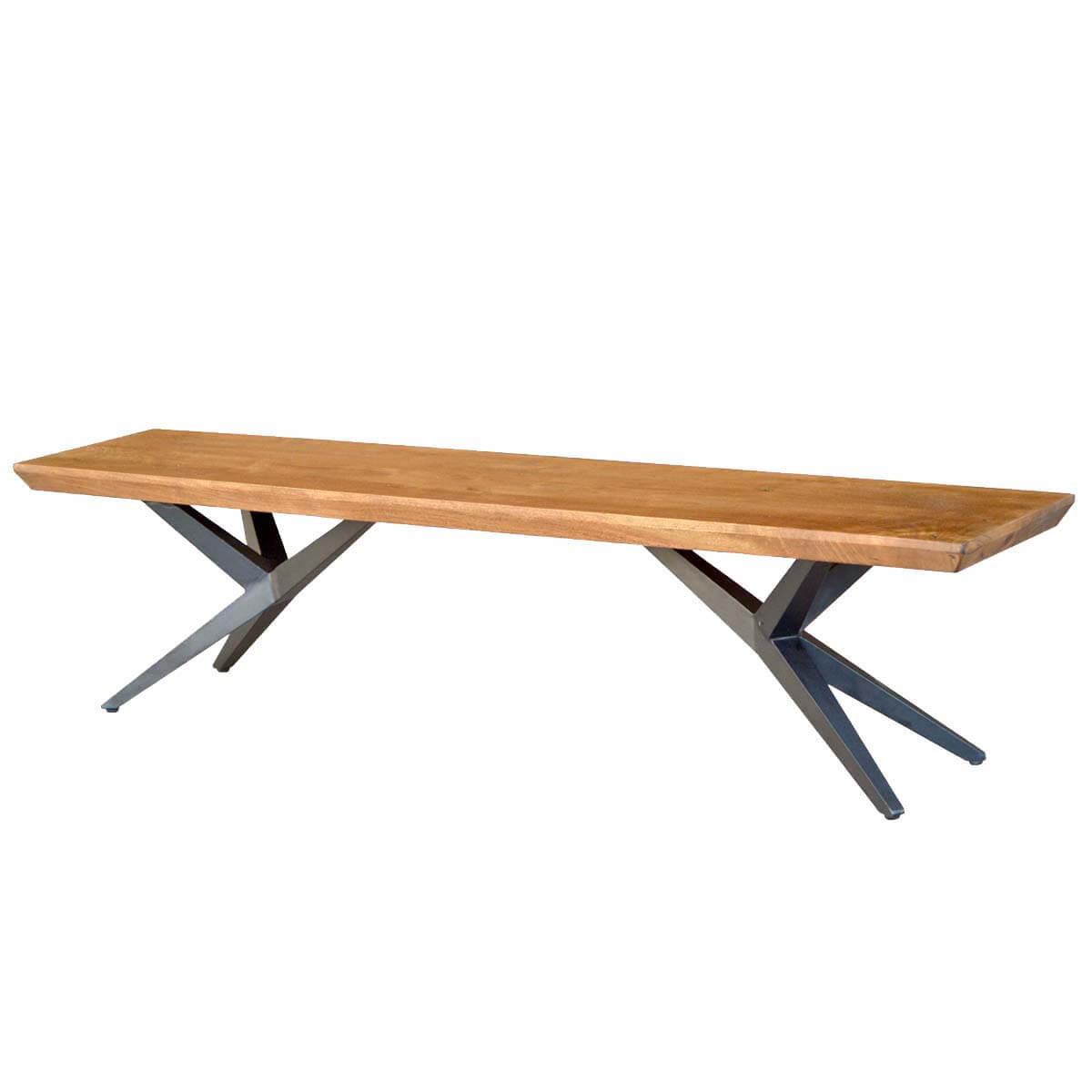 Lorna Contemporary Acacia Wood Iron Airloft Bench