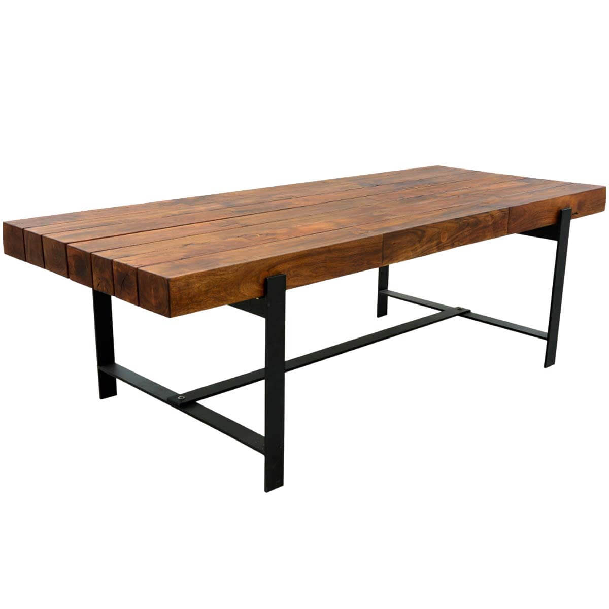 Industrial iron acacia wood 94 large rustic dining table Best wood for dining table