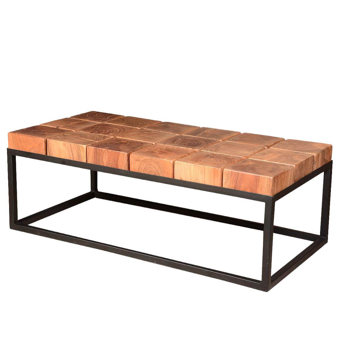 Solid Acacia Wood Block Contemporary Iron Base Rustic Coffee Table