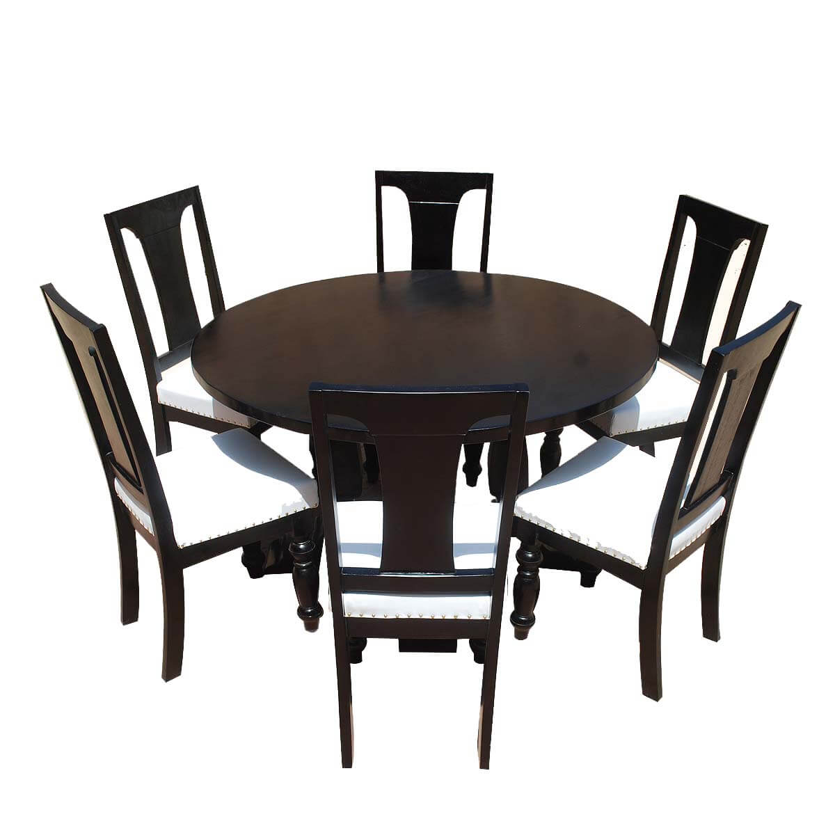 California solid wood leather 7p round dining room set for Leather dining room sets