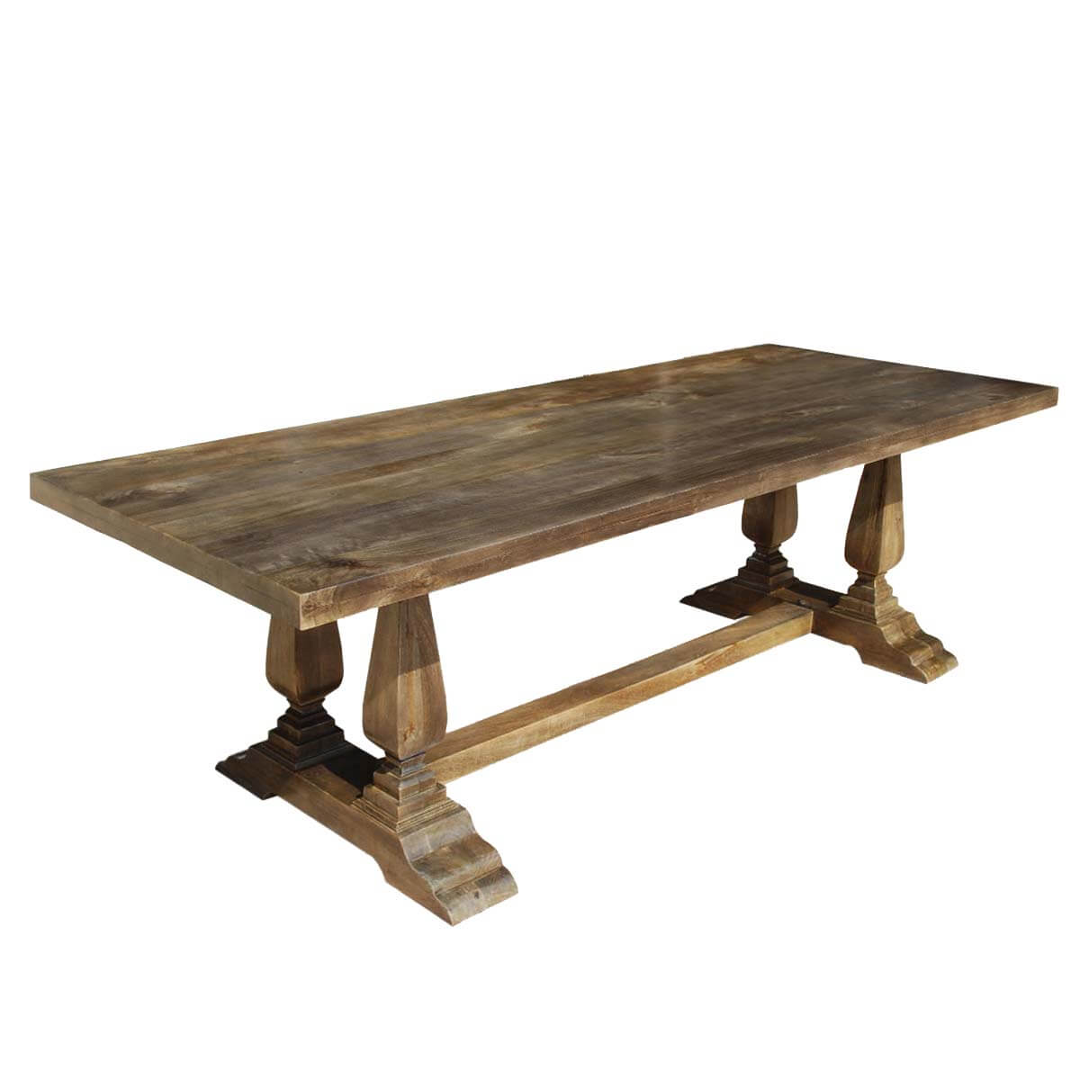 Pelham rustic 98 solid wood trestle pedestal dining table for Solid wood dining table