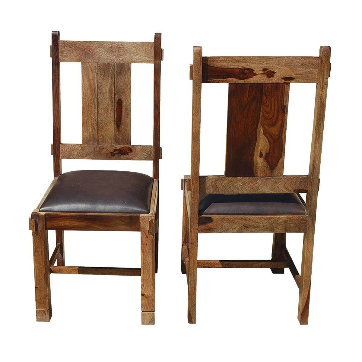 appalachian rustic solid wood leather chairs set of 2. Black Bedroom Furniture Sets. Home Design Ideas