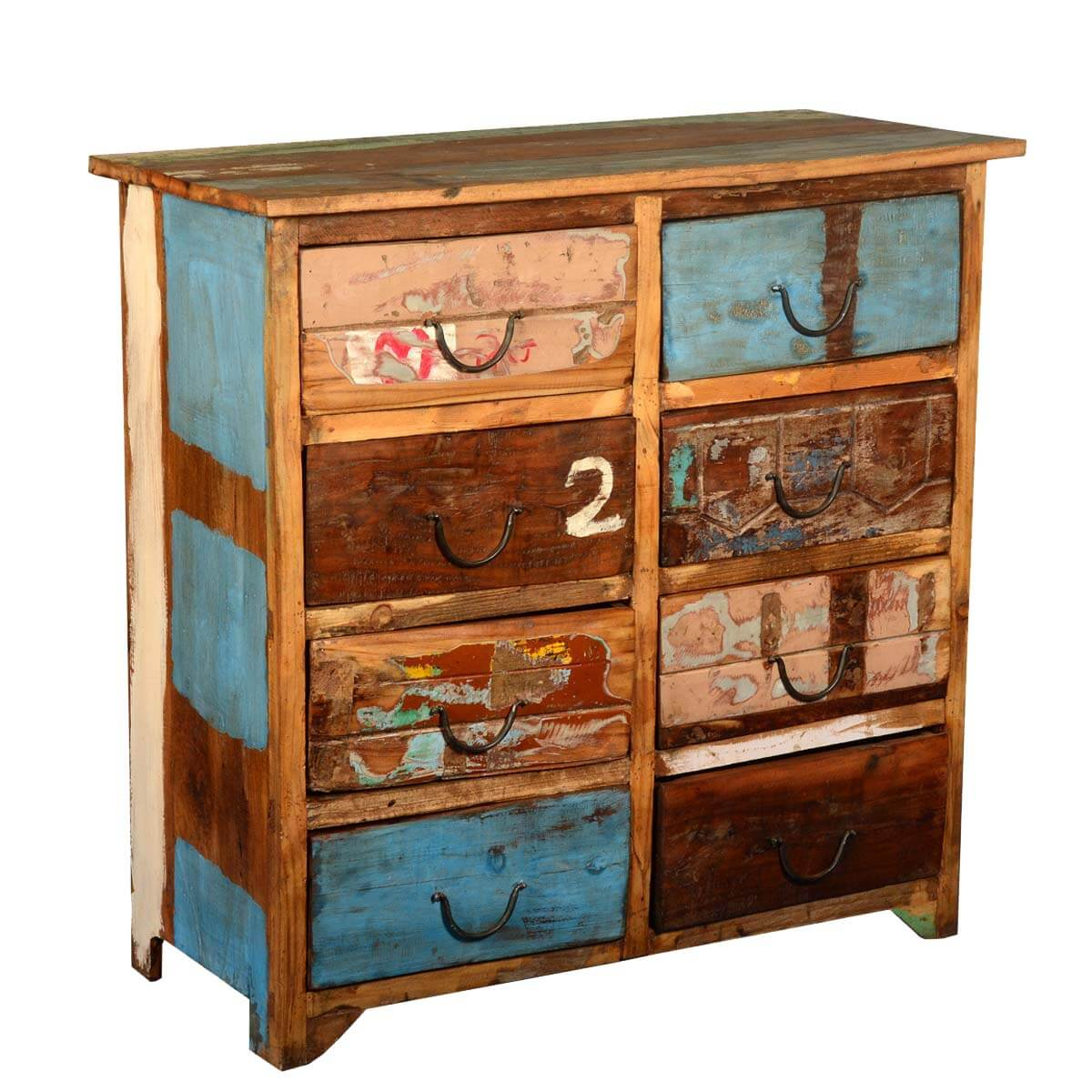 Reclaimed Wood Distressed Paint Patch 8 Drawer Double Dresser Chest. Full resolution  portraiture, nominally Width 1200 Height 1200 pixels, portraiture with #753B18.