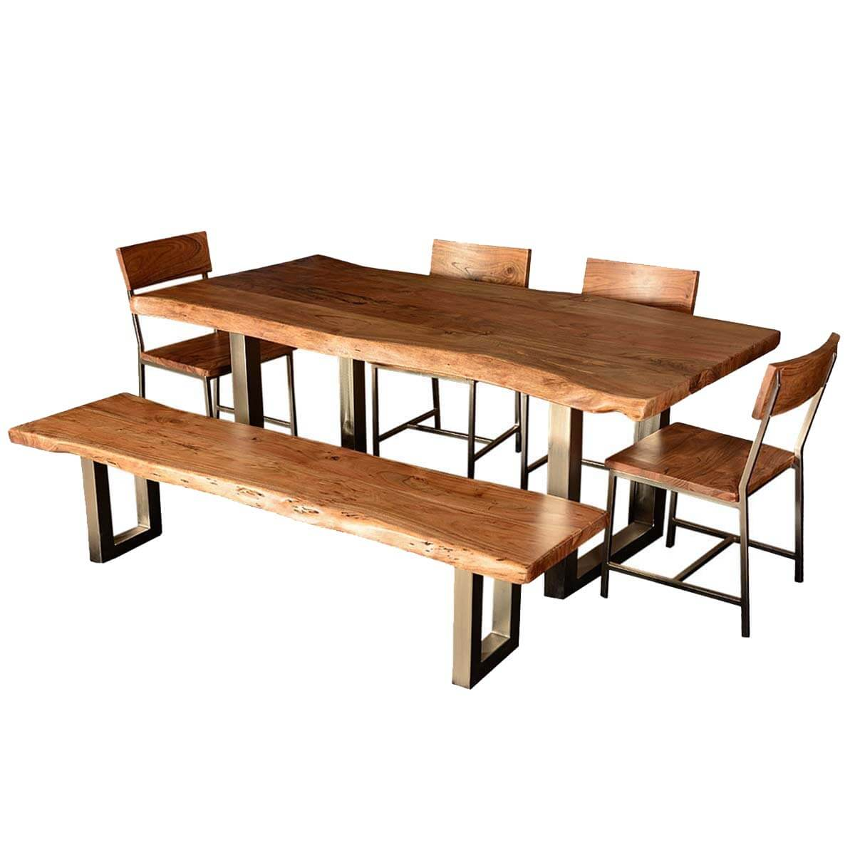 Modern rustic live edge dining table chair set with live for Dining room table and bench
