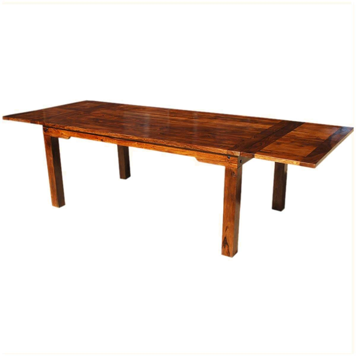 Solid Wood Dining Table ~ Solid wood transitional rustic dining table w extensions