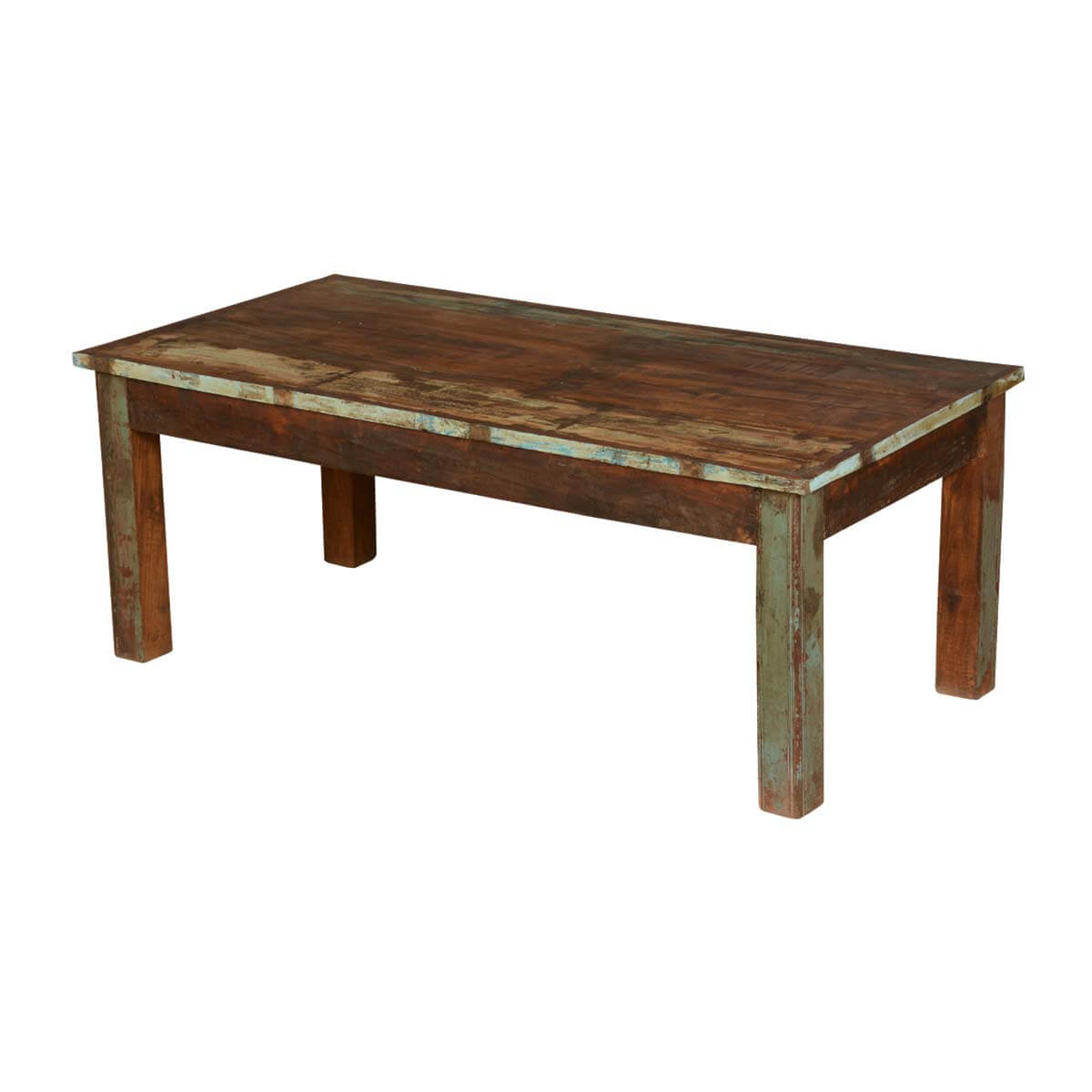 Farmhouse distressed reclaimed wood rustic coffee table for Rustic coffee table