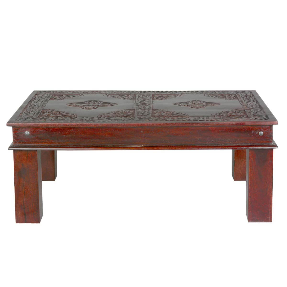 Asian Ornate Hand Carved Mango Wood Coffee Table