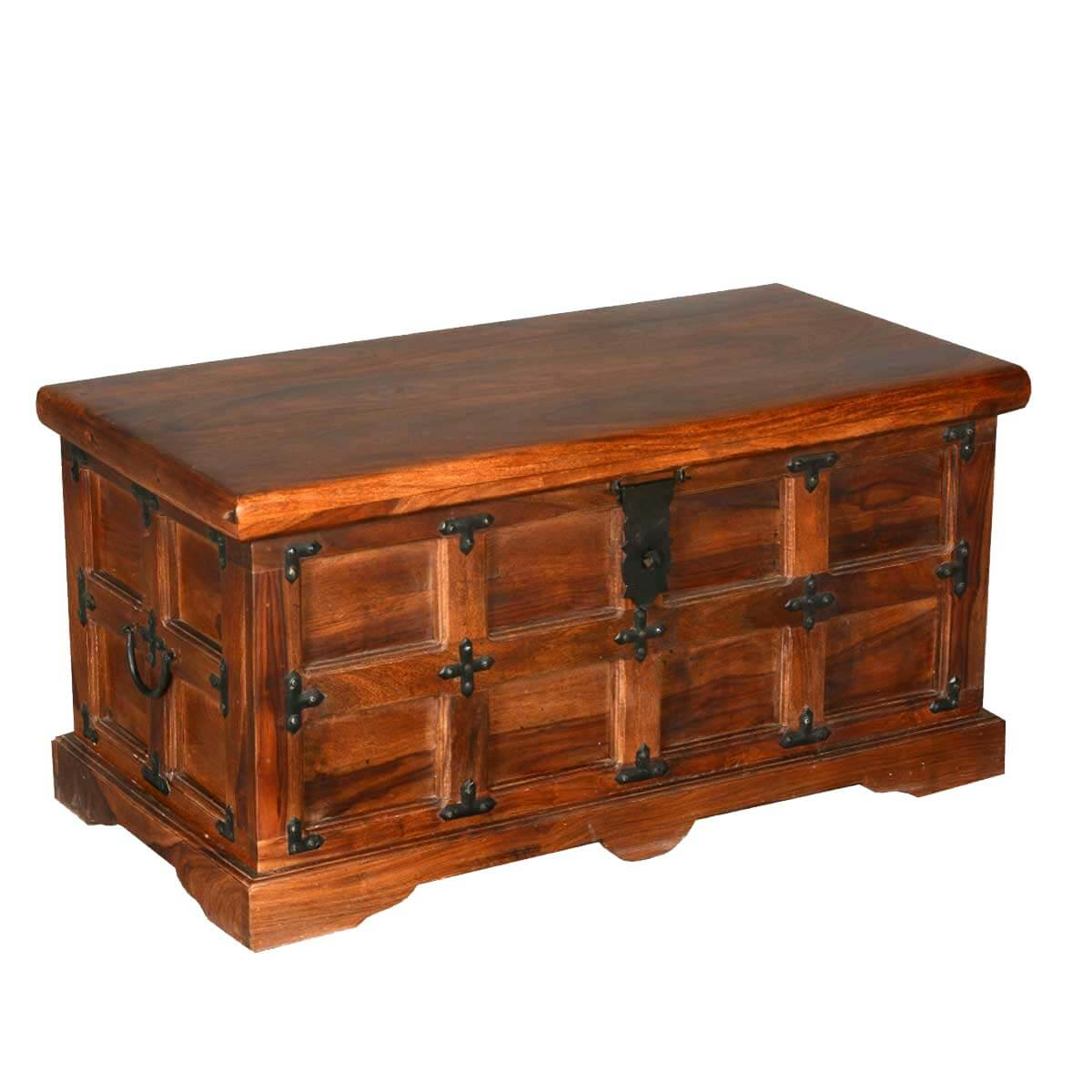 Beaufort solid rosewood with metal accents coffee table storage chest Coffee table chest with storage