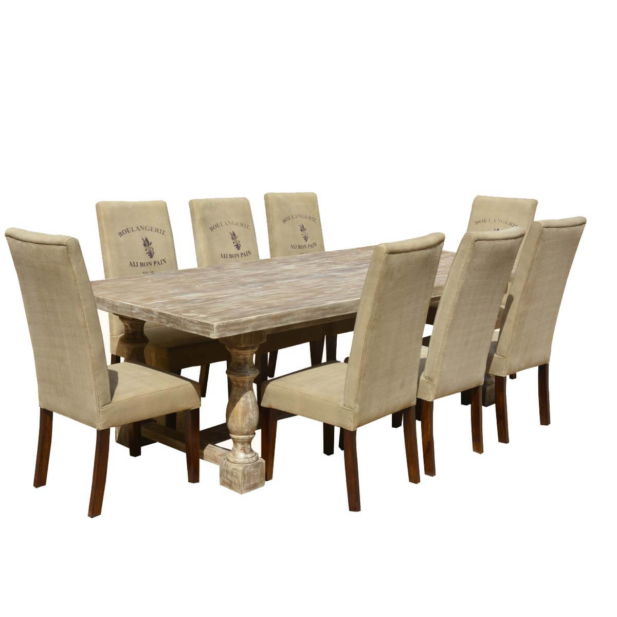 Italian mango wood white dining table cafe logo fabric for White and wood dining table and chairs
