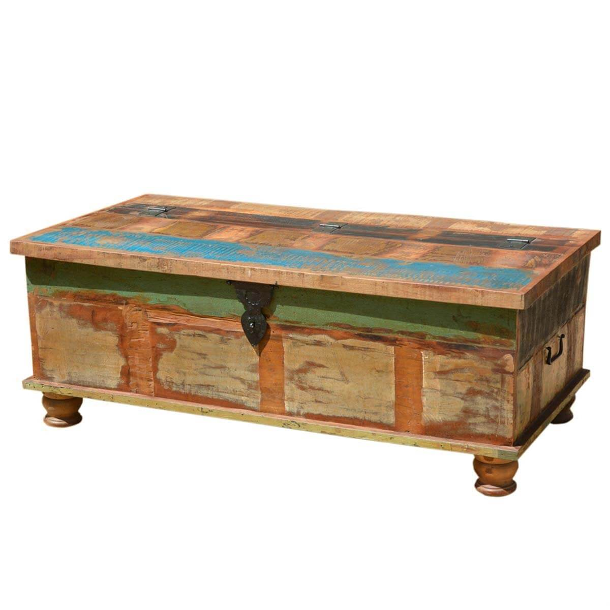 Grinnell rustic reclaimed wood coffee table storage trunk Coffee table chest with storage