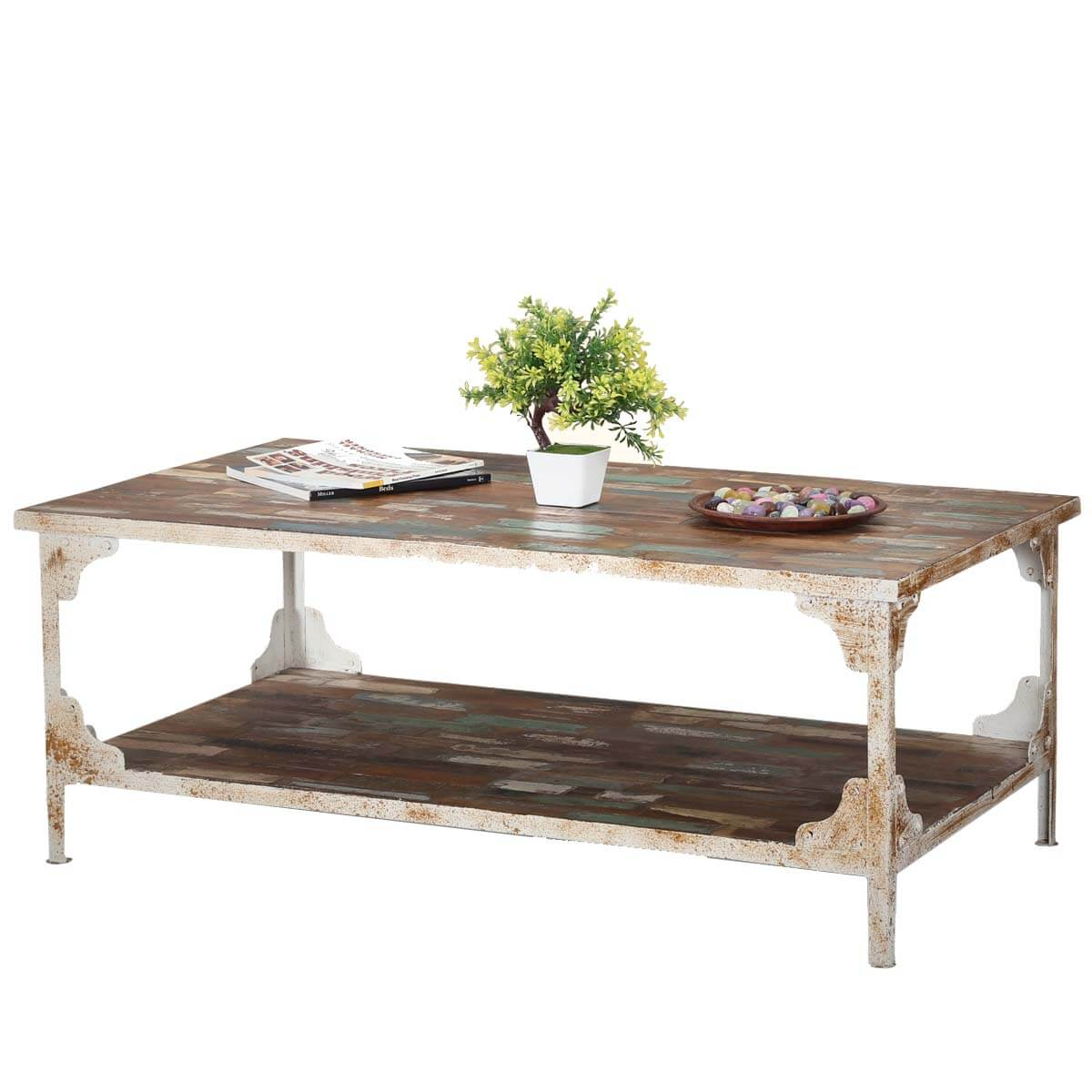 Industrial Reclaimed Wood Iron 2 Tier Coffee Table