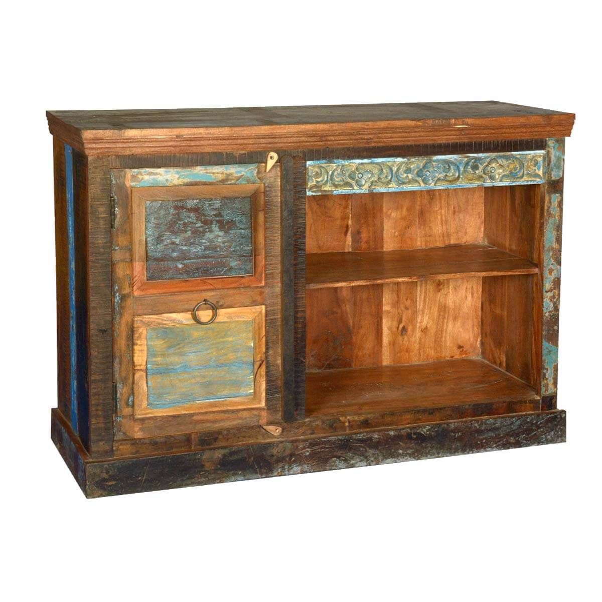 Drakensberg distressed old reclaimed wood media console tv for Barnwood media cabinet