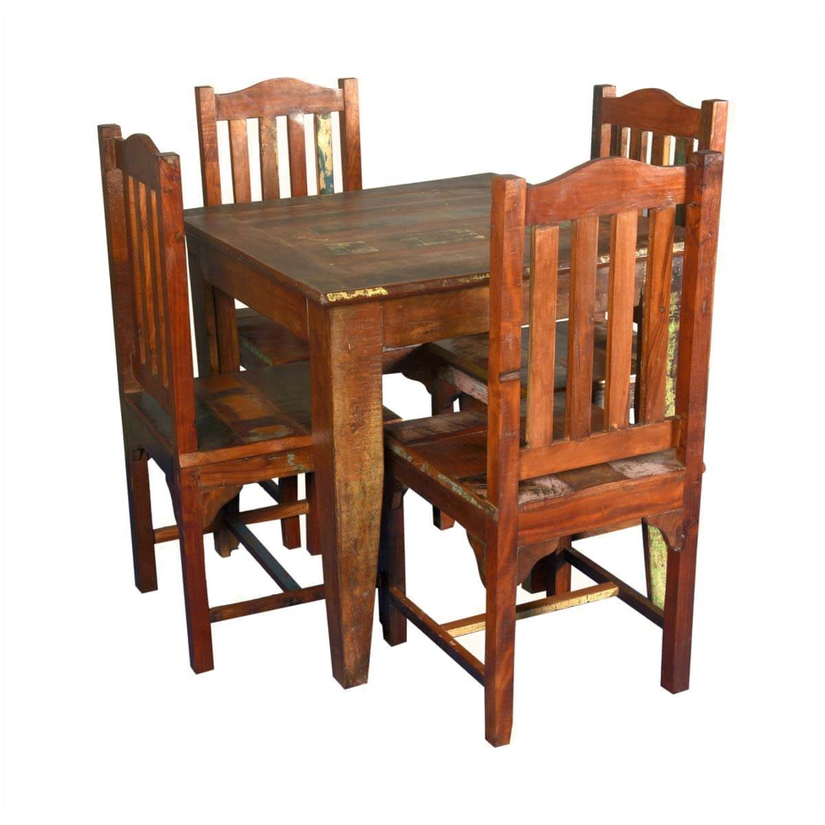 Small reclaimed wood 5pc dining table and chairs for Wooden dining table chairs