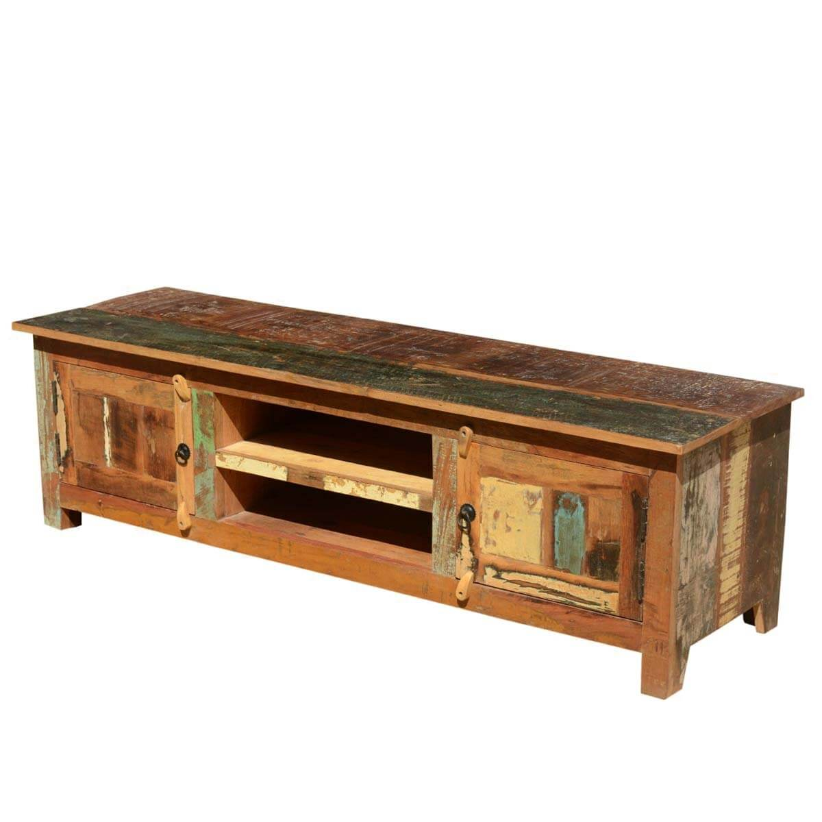 Distressed reclaimed wood 60quot rustic media console for Barnwood media cabinet