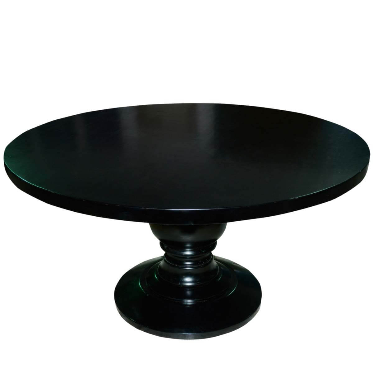 Sutton black baluster pedestal traditional wood round for Black wood dining table