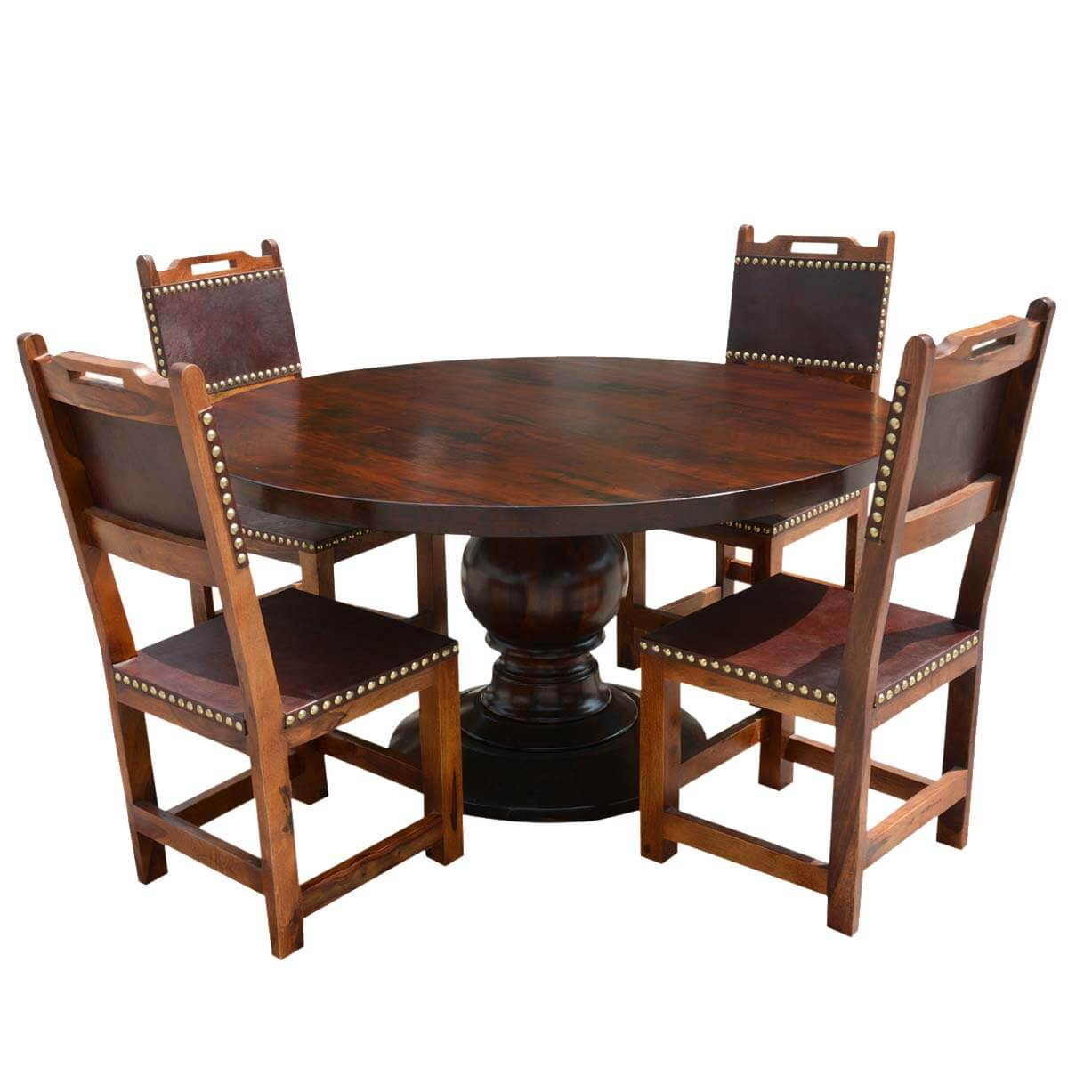Santa Ana Round Kitchen Dining Table Set With Leather Back
