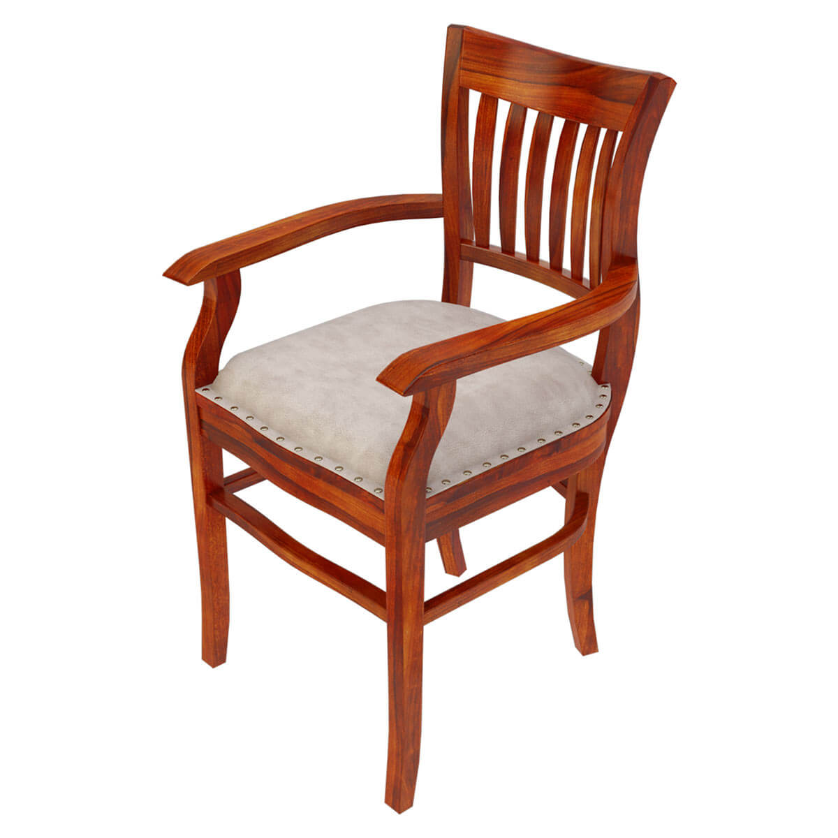 Solid wood arm chair leather cushion dining furniture for Solid wood furniture