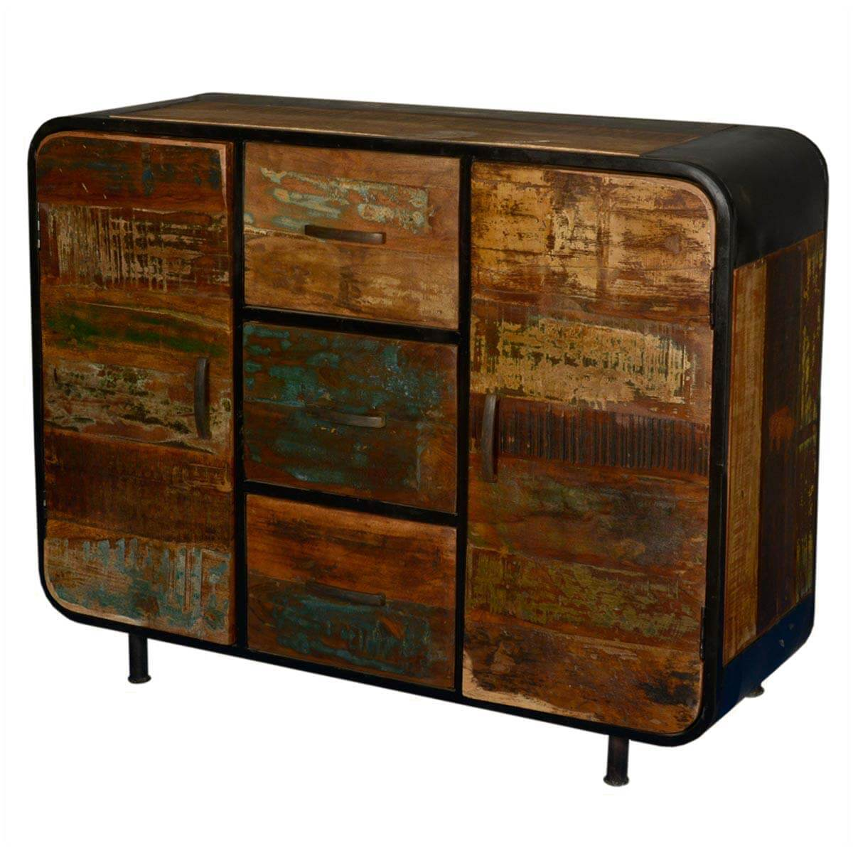 Reclaimed Wood Sideboard ~ Rochester retro reclaimed wood industrial drawer sideboard
