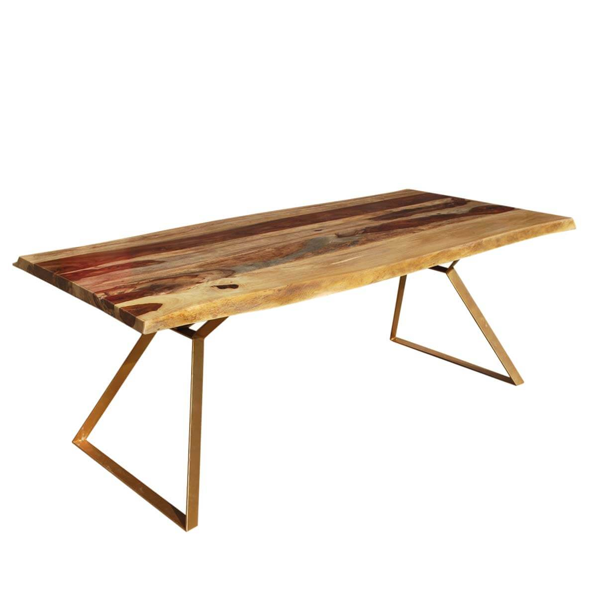 Live Edge Contemporary Indian Rosewood Iron 78 Hankin Dining Table