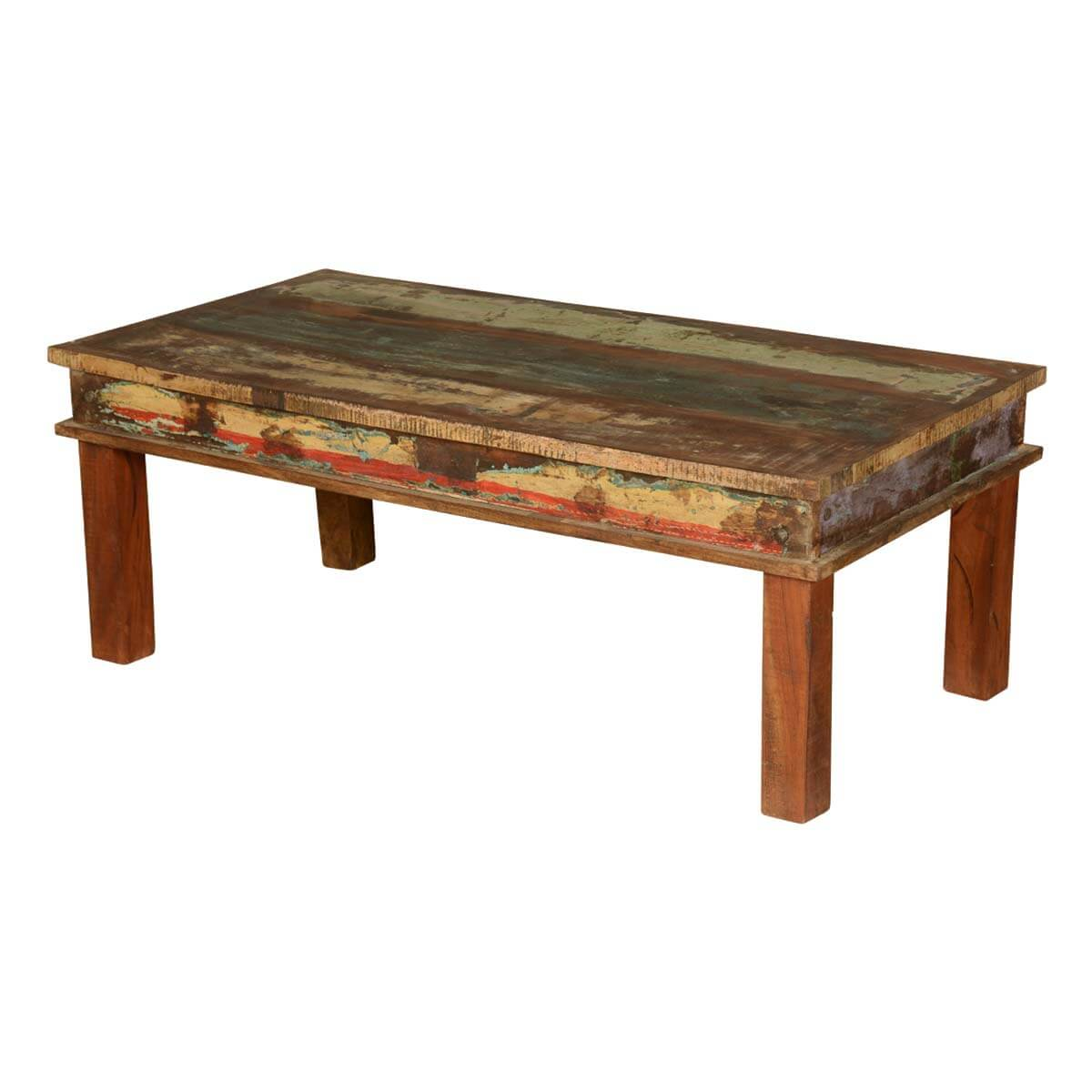 Appalachian reclaimed wood multi color coffee table Recycled wood coffee table