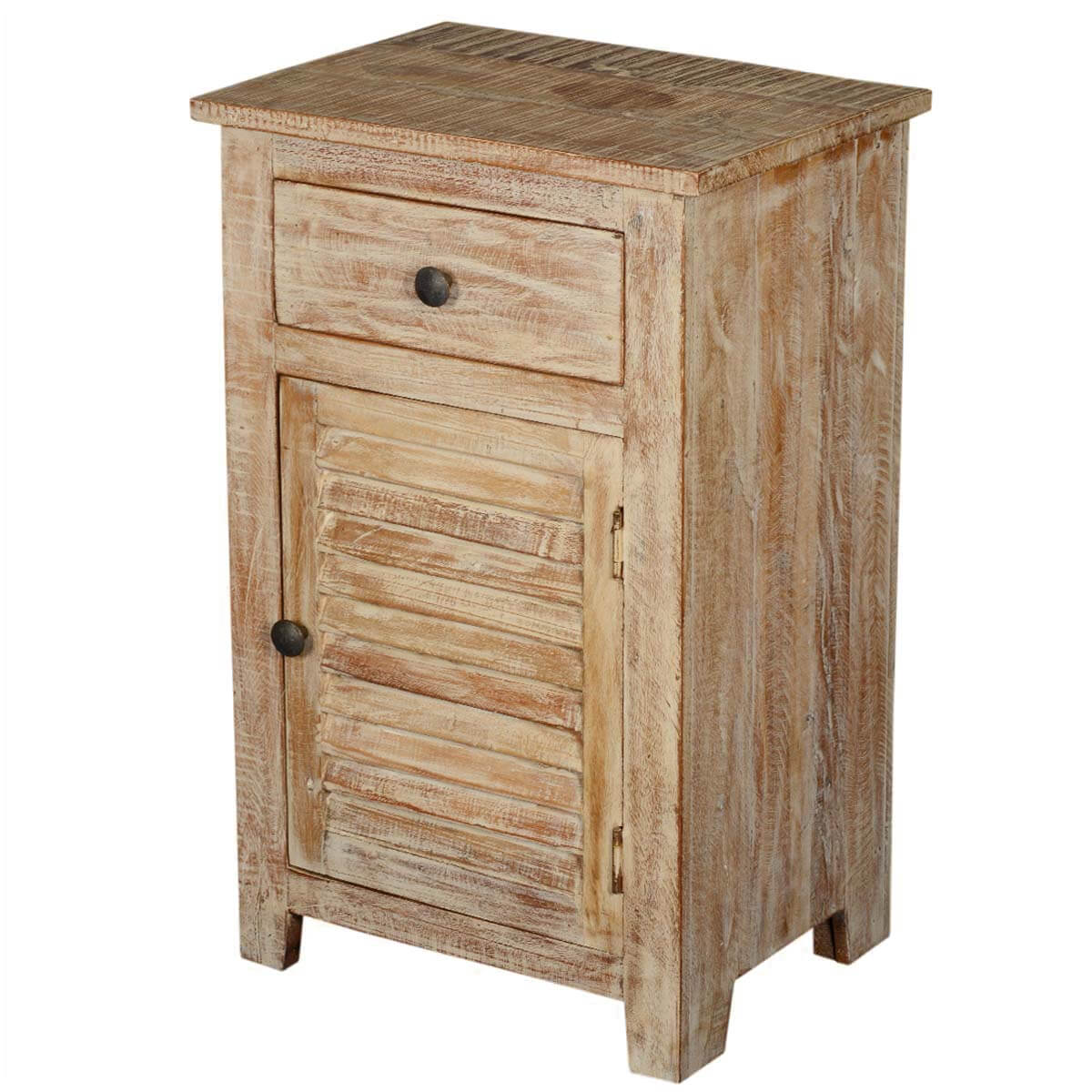 Winter night reclaimed wood shutter door end table stand