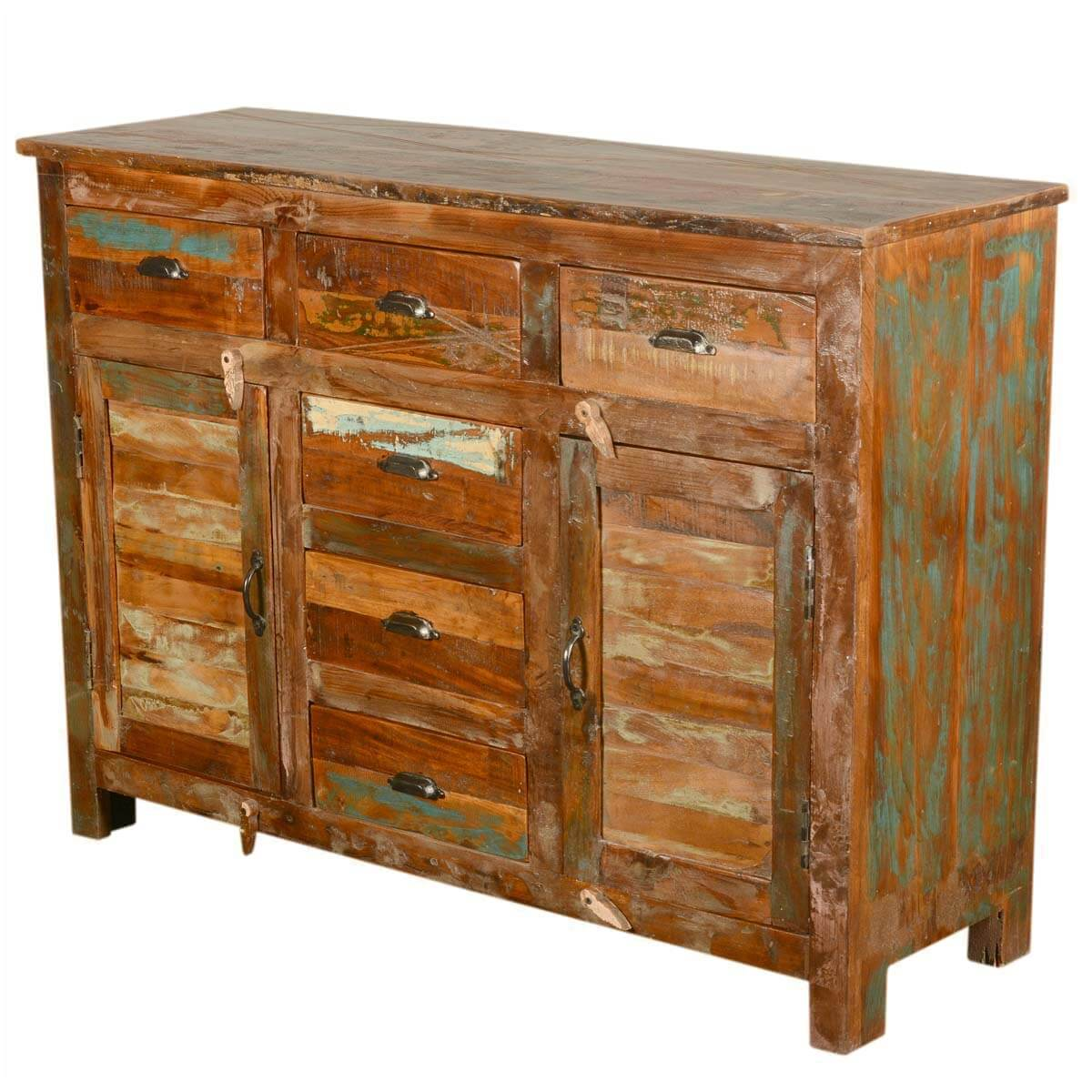 Wood Elevation For Buffet : Pedro rustic reclaimed wood drawer sideboard