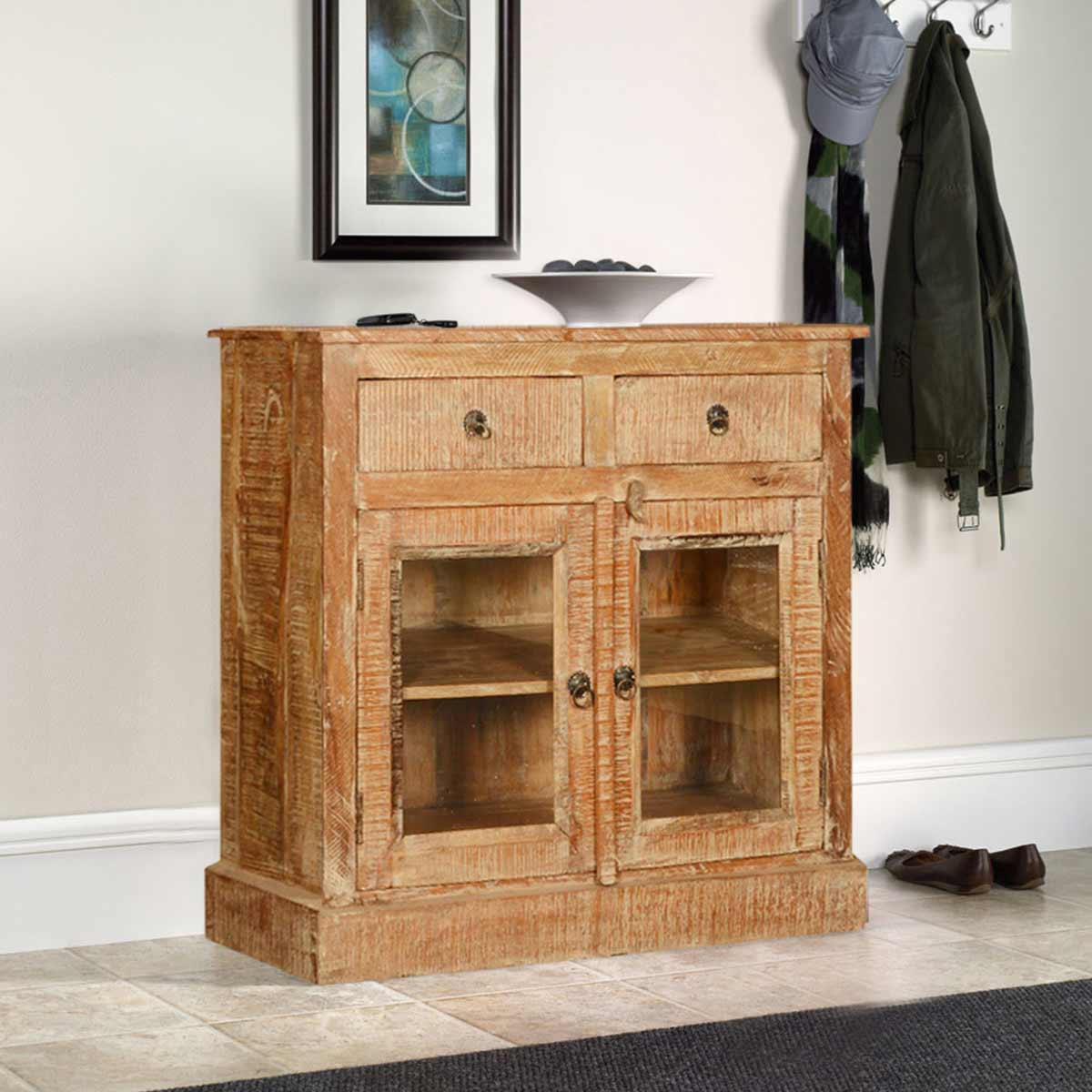 Wild West Mango Wood Textured Storage Buffet Display Glass Cabinet. Full resolution‎  file, nominally Width 1200 Height 1200 pixels, file with #B27F19.