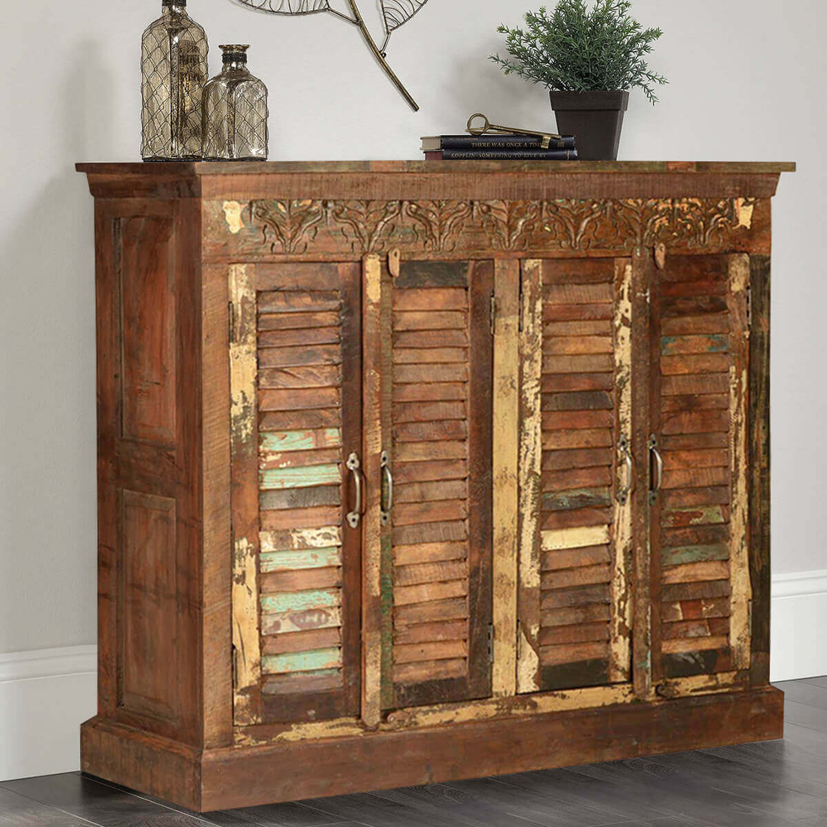 Very Impressive portraiture of Shutter Door Rustic Reclaimed Wood Sideboard Buffet Distressed Cabinet with #BD830E color and 1200x1200 pixels