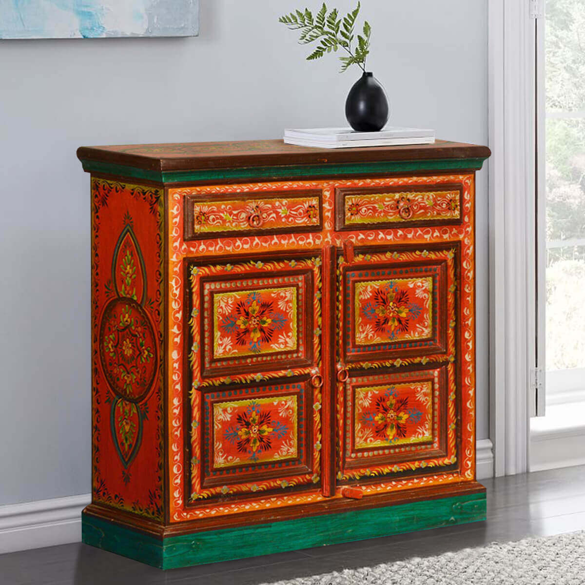 Painted Wooden Sideboard ~ Fire garden hand painted mango wood drawer buffet
