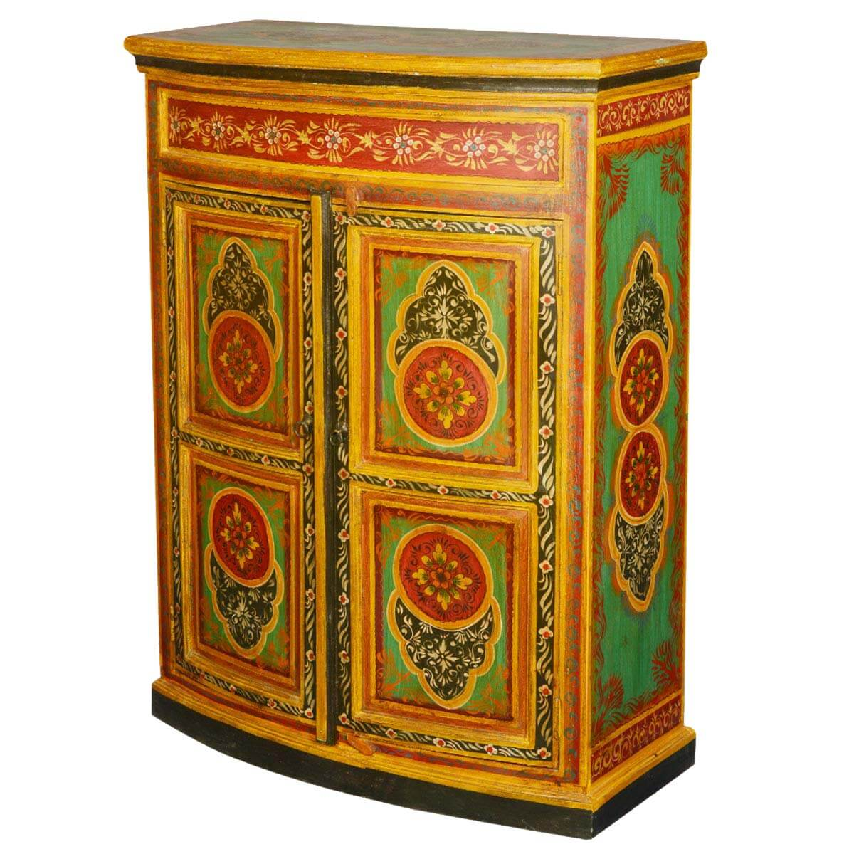 Imperial Garden Hand Painted Mango Wood Mini Buffet Cabinet. Full resolution‎  photograph, nominally Width 1200 Height 1200 pixels, photograph with #823B09.