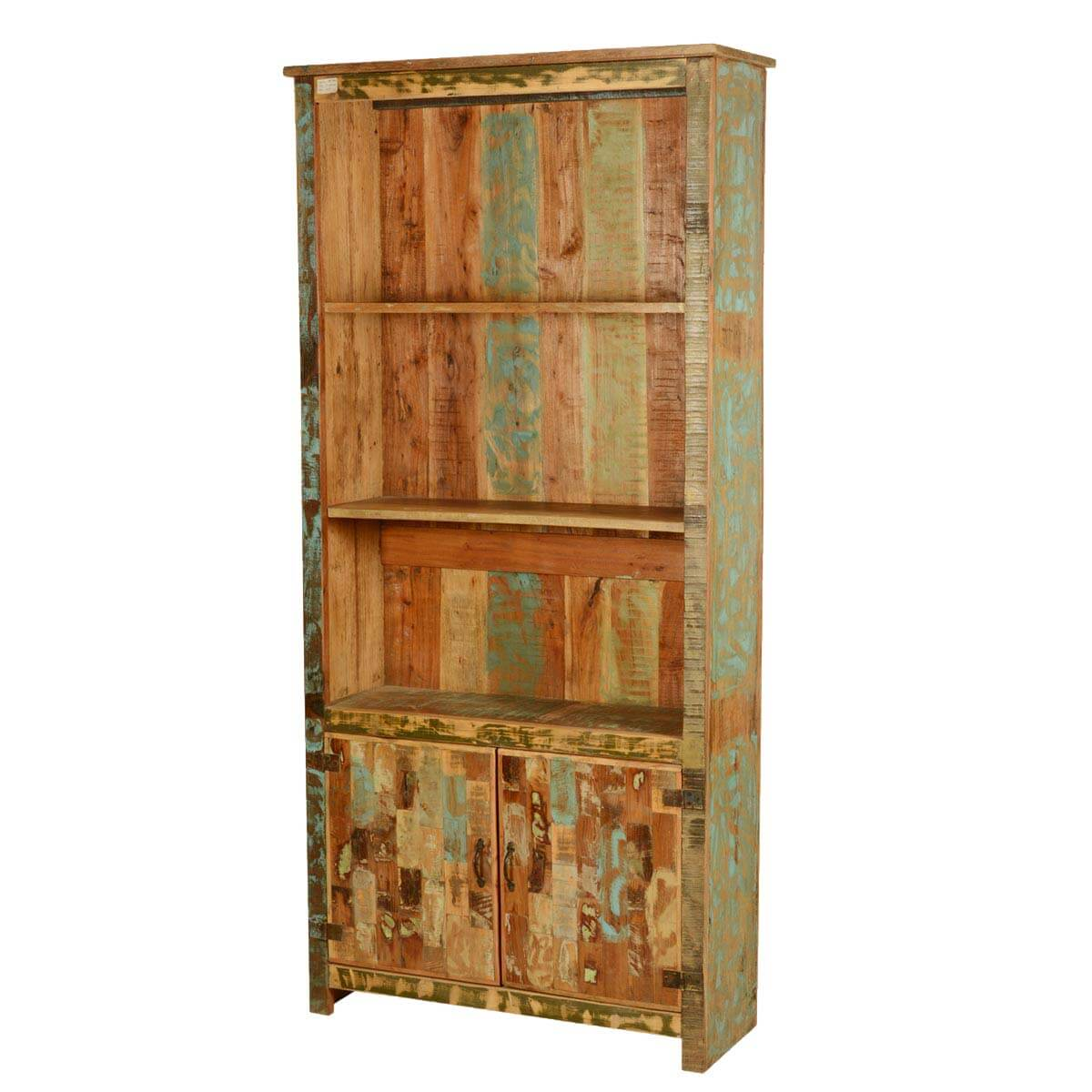 Wonderful image of Spring Forest Reclaimed Wood 78.5 Tall Open Bookcase w Cabinet with #B07A1B color and 1200x1200 pixels