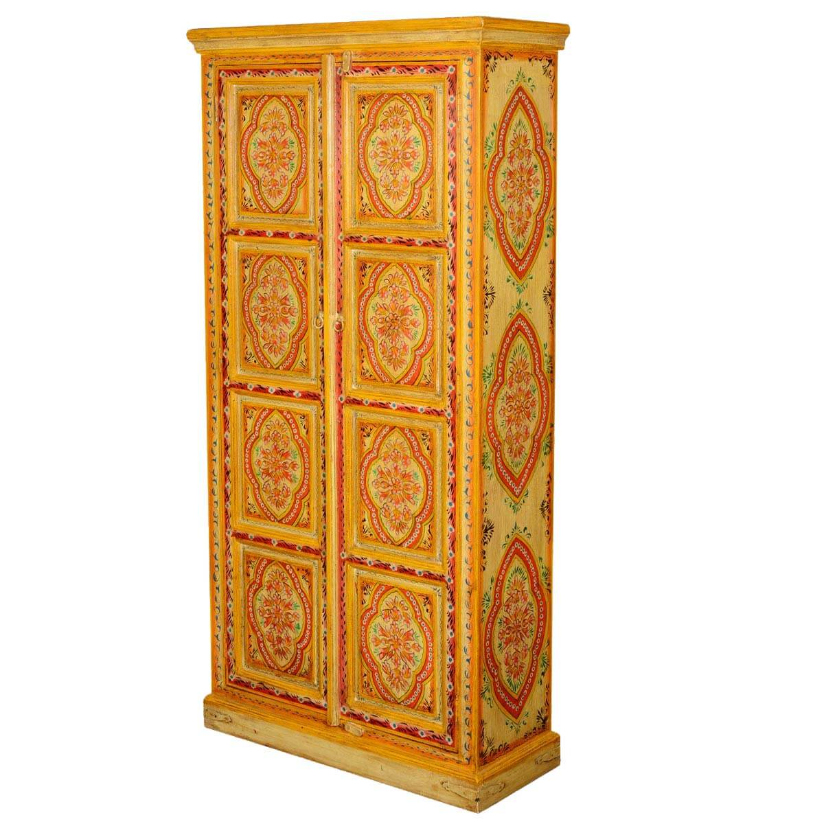 Sun Garden Hand Painted Mango Wood 71.5 2 Door Armoire Cabinet. Full resolution  pic, nominally Width 1200 Height 1200 pixels, pic with #BD740E.