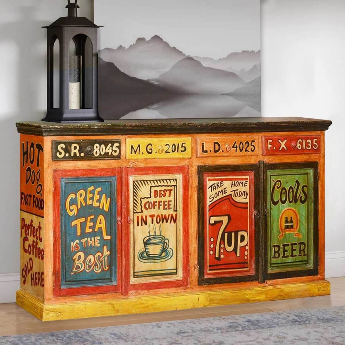 Pop Art Hand Painted Mango Wood Storage Buffet Cabinet. Full resolution‎  file, nominally Width 1200 Height 1200 pixels, file with #B93612.