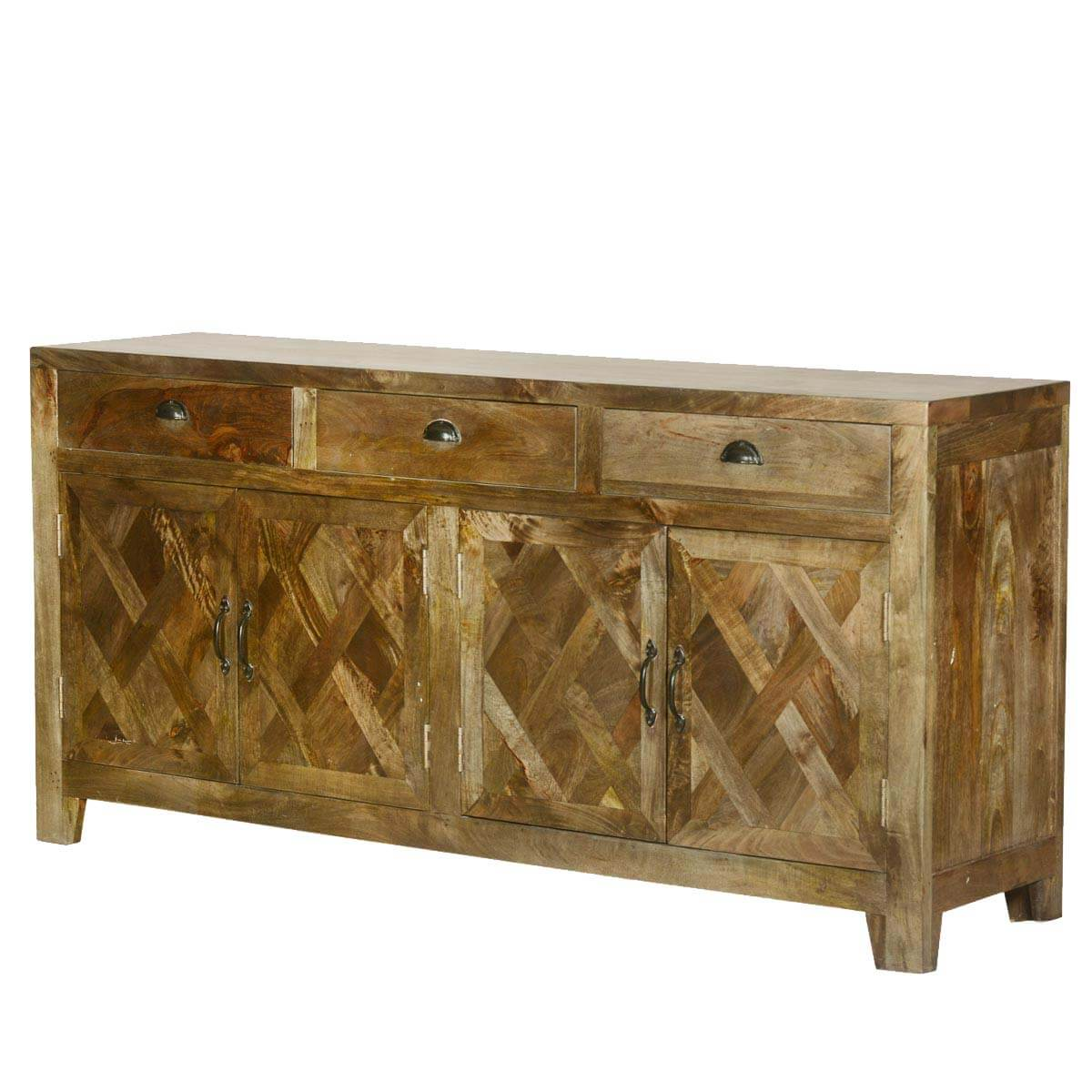parquet farmhouse mango wood rustic sideboard buffet cabinet. Black Bedroom Furniture Sets. Home Design Ideas