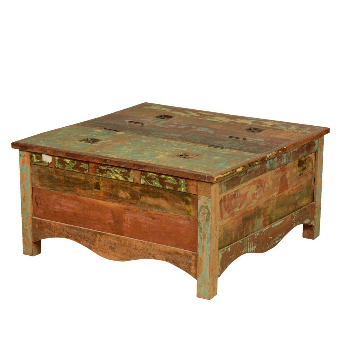 Rustic reclaimed wood 35 5 square double top coffee table chest Recycled wood coffee table