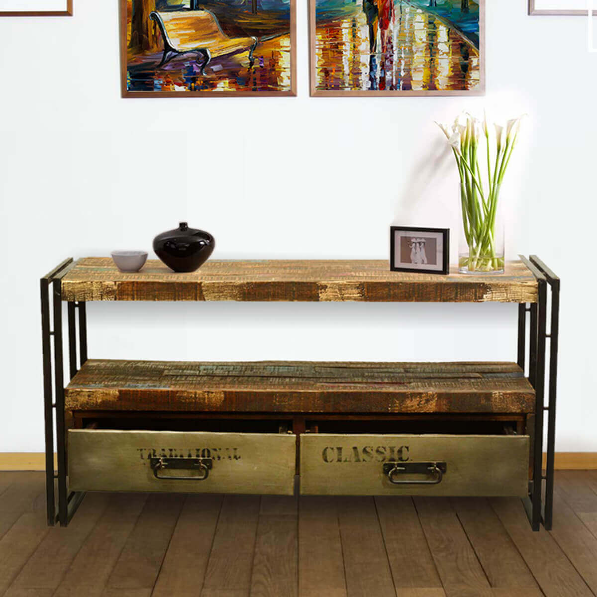Rustic modern industrial reclaimed wood iron media console Modern media console