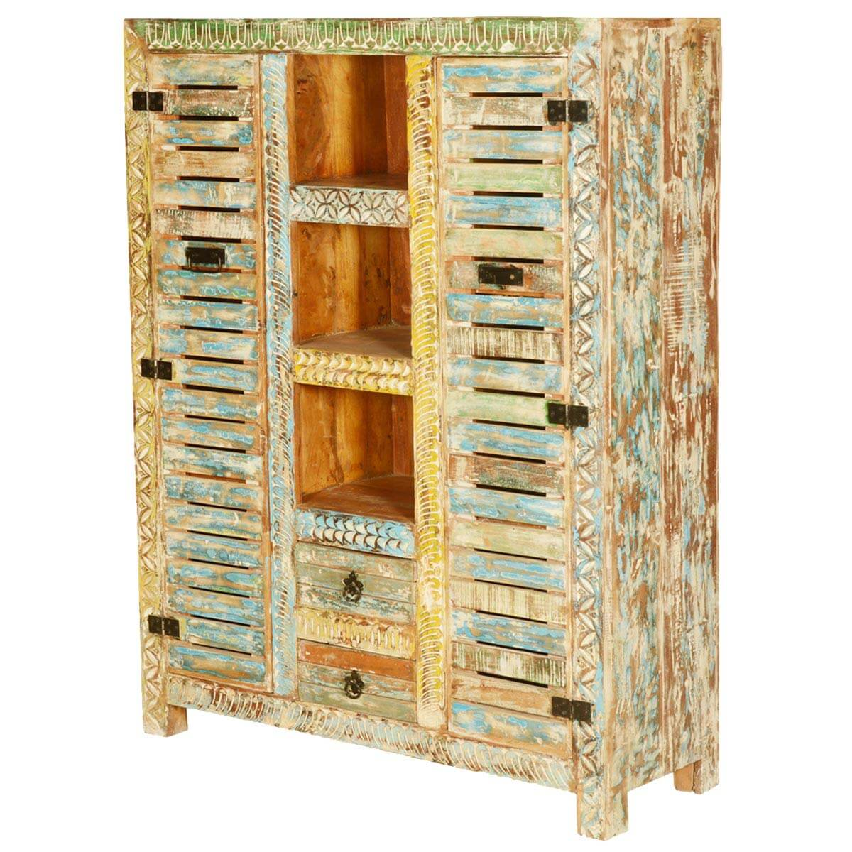 Locker doors reclaimed wood hand carved wall unit cabinet