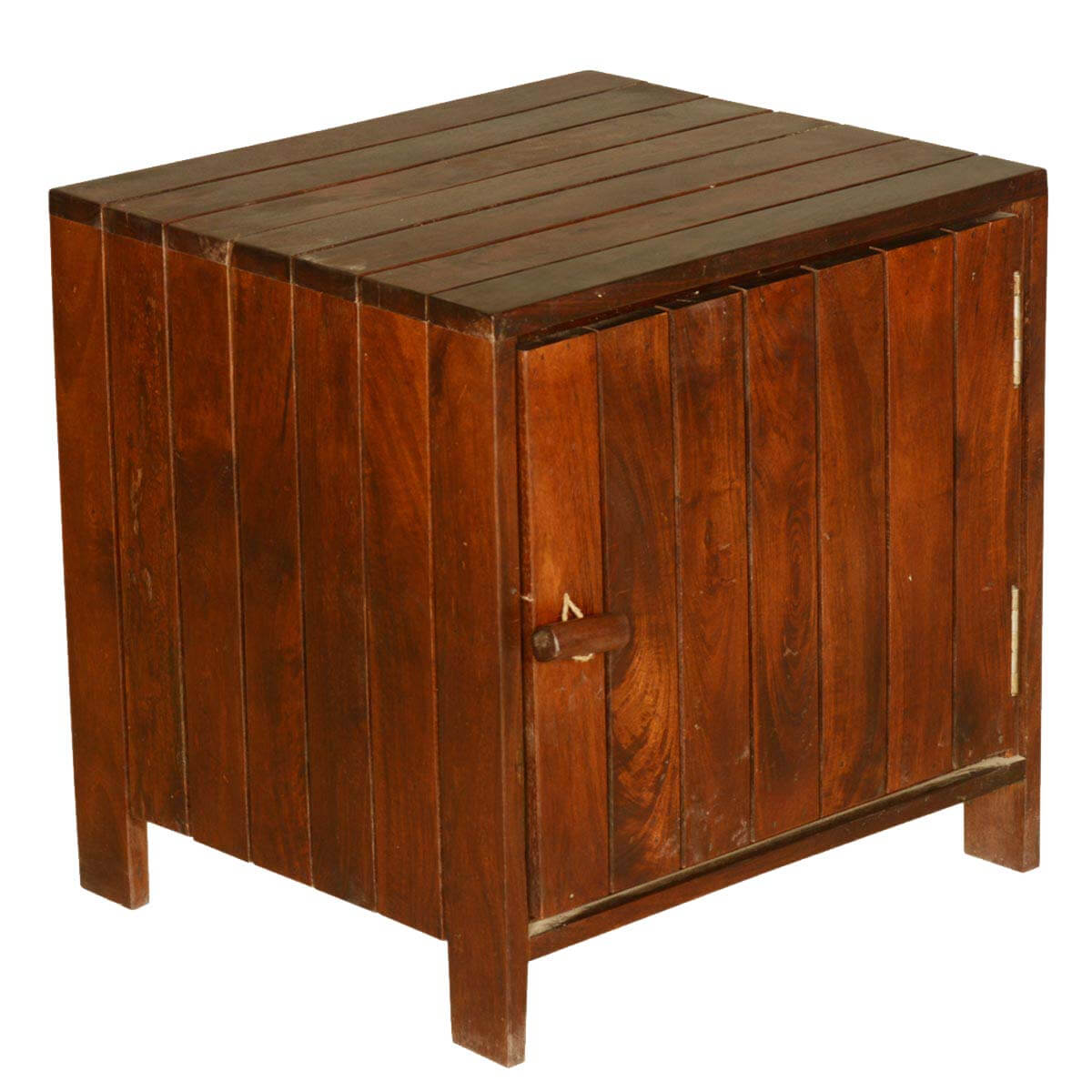zest contemporary standing cube solid teak wood end table