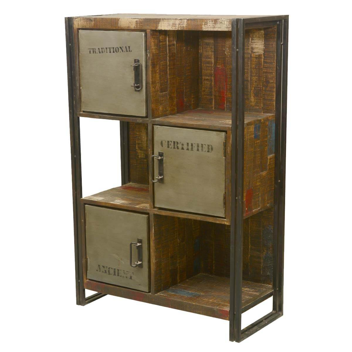 Industrial Reclaimed Wood Iron 6 Cubical Storage Wall Unit