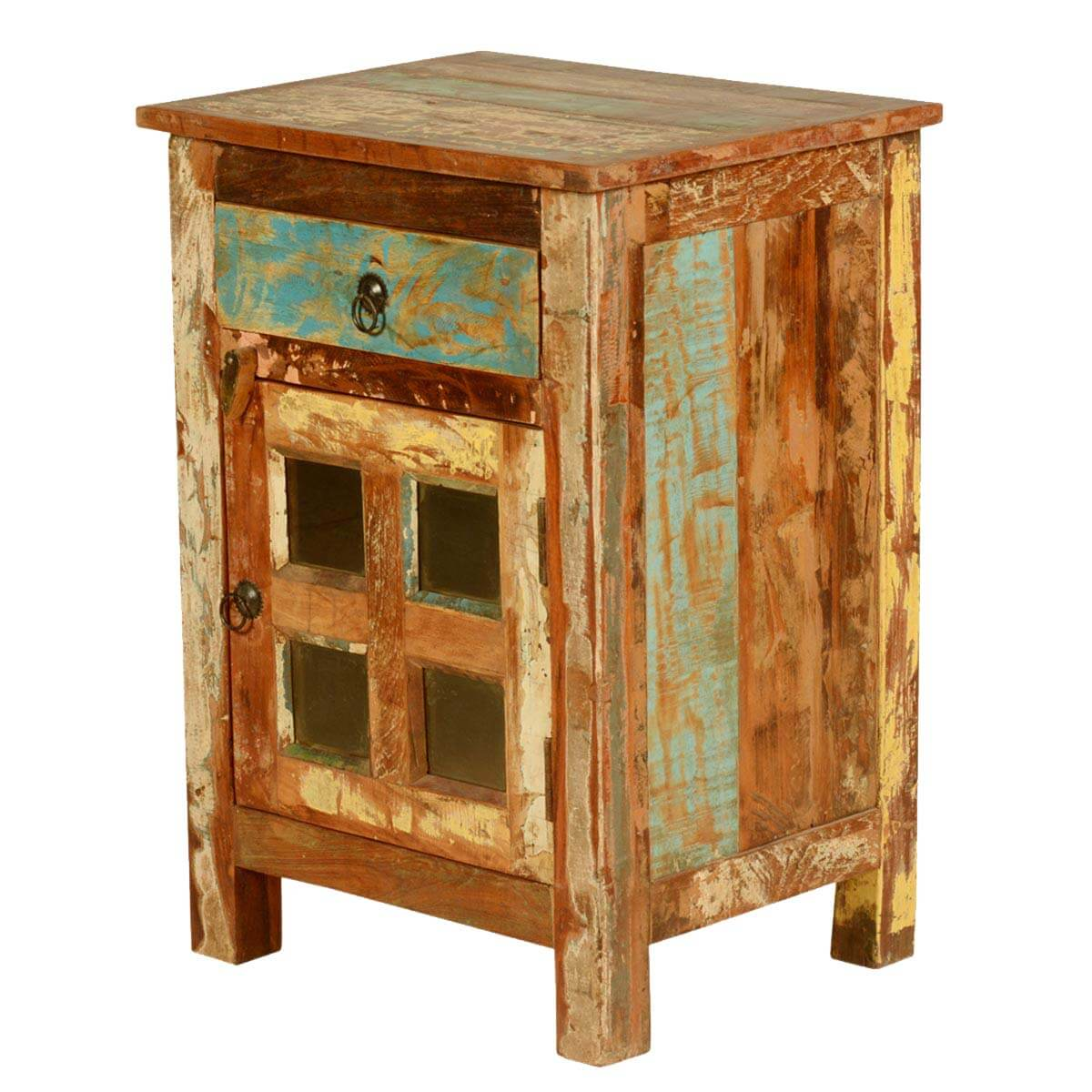 Rustic window pane door reclaimed wood nightstand end table