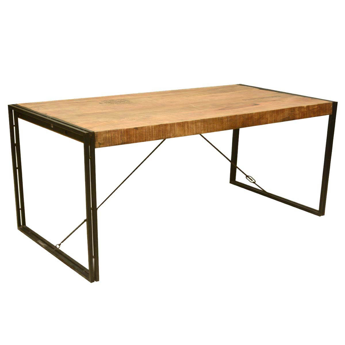 large rustic industrial style mango wood and iron dining table