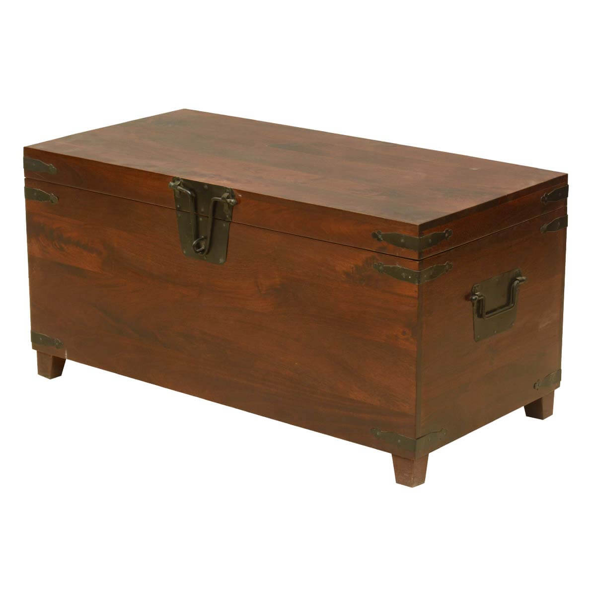rustic hand crafted mango wood and iron storage trunk. Black Bedroom Furniture Sets. Home Design Ideas