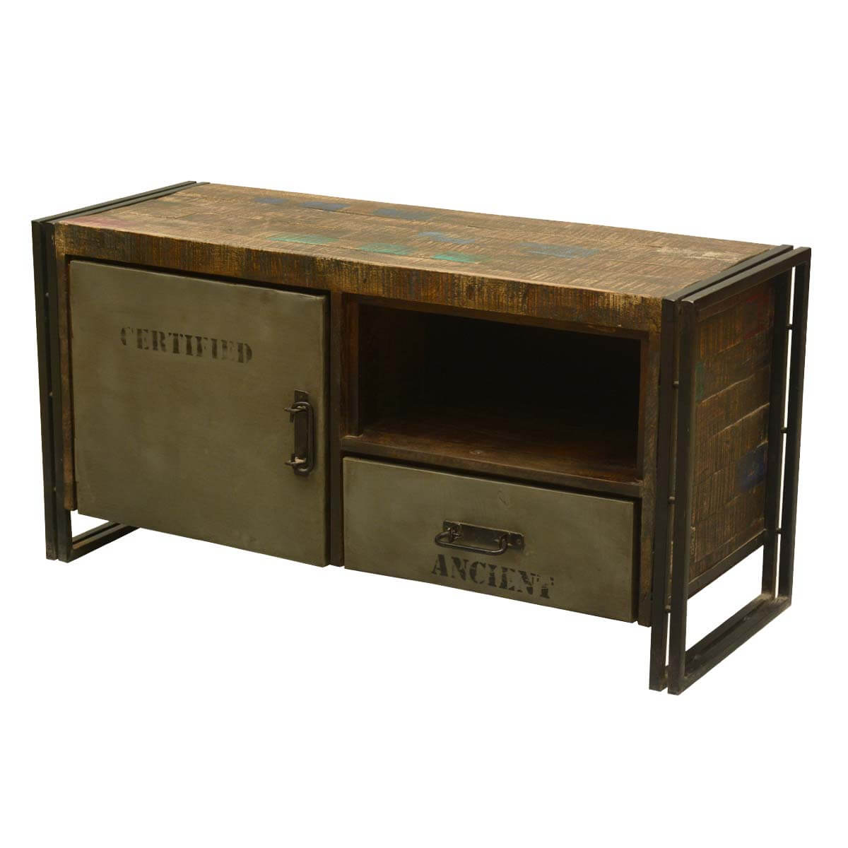 Rustic modern industrial reclaimed wood and iron media console Modern media console