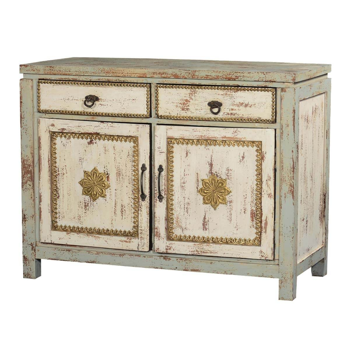 Industrial Style Solid Wood Square Storage Trunk 5 Drawer: Rustic Solid Wood New Orleans Storage Cabinet With 2 Drawers