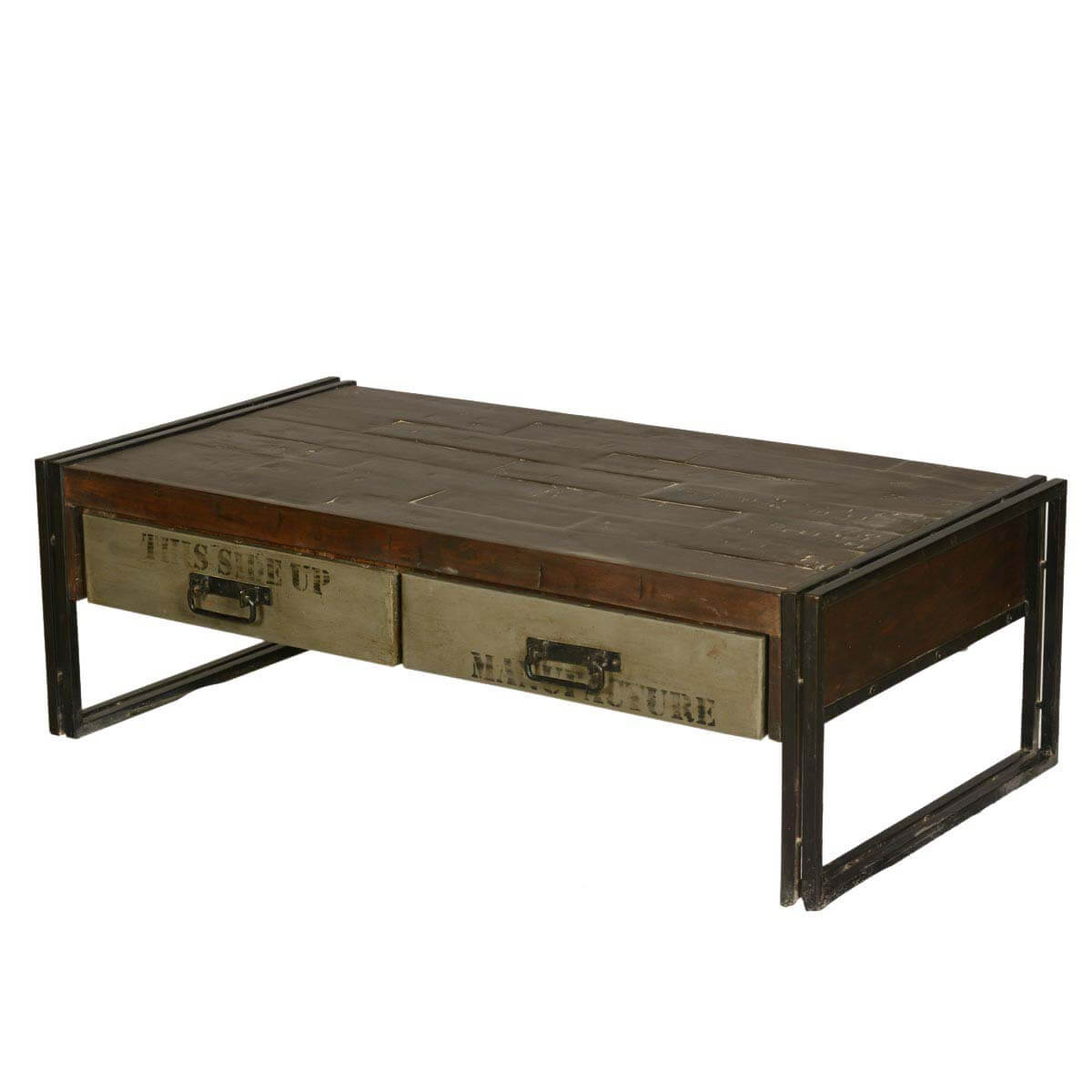 Philadelphia Modern Rustic Reclaimed Wood Metal Coffee Table: rustic wooden coffee tables